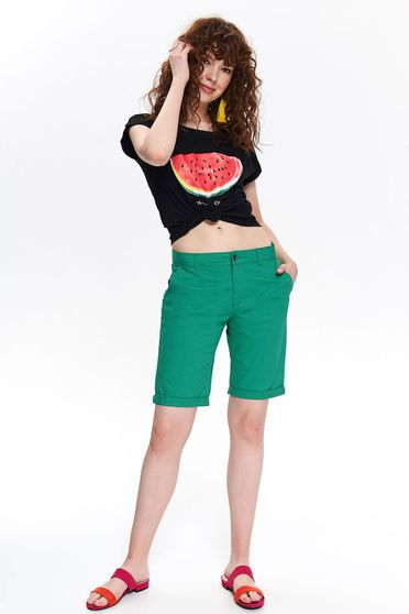 Black casual flared t-shirt cotton short sleeves