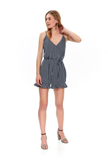 White casual short cut jumpsuit with v-neckline with straps airy fabric