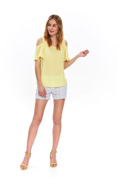 Yellow casual off shoulder flared women`s blouse with rounded cleavage airy fabric