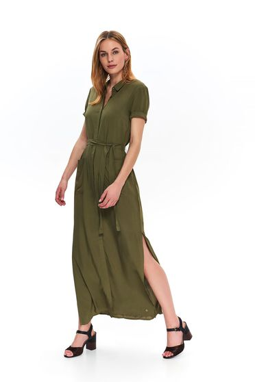 Green daily long cloche dress accessorized with tied waistband
