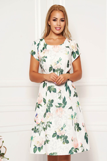 White daily midi cloche dress cotton with floral print