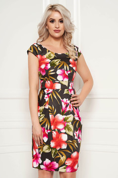 Khaki daily dress with tented cut cotton with floral prints