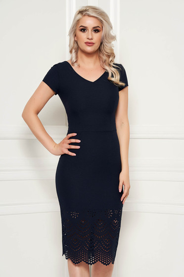 Darkblue elegant pencil dress slightly elastic fabric with inside lining with cut out material