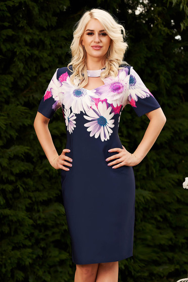 Darkblue office midi dress short sleeves with floral print