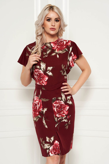 Burgundy elegant pencil dress short sleeve soft fabric with floral prints