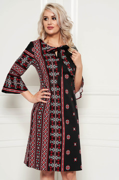 Black daily midi a-line dress slightly elastic cotton with graphic details