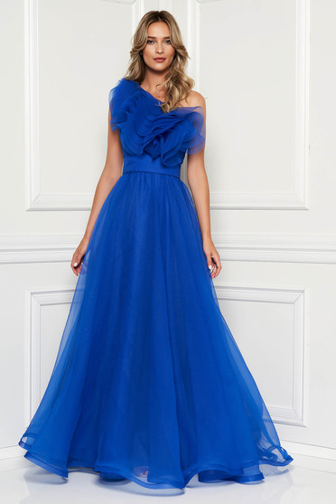Ana Radu blue dress luxurious from tulle with inside lining with ruffles on the chest one shoulder