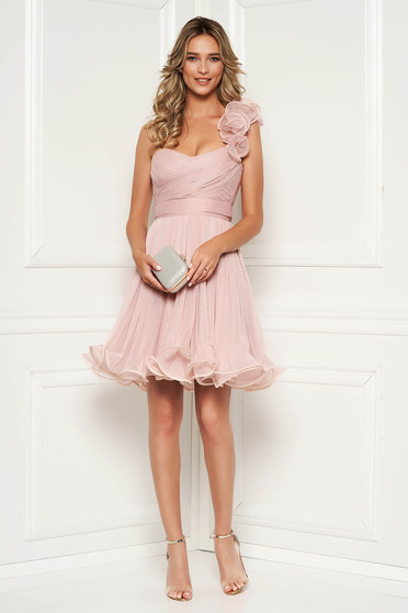 Ana Radu lightpink occasional corset cloche dress from tulle with push-up cups accessorized with tied waistband
