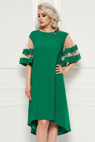 Green elegant flared asymmetrical dress thin fabric