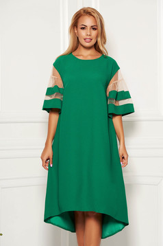Green elegant flared asymmetrical dress thin fabric short sleeves