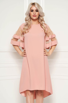 Lightpink elegant flared asymmetrical dress thin fabric with short sleeves