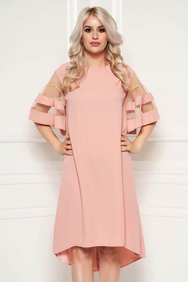 Lightpink elegant flared asymmetrical dress thin fabric