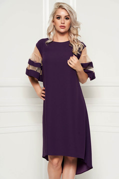 Purple elegant flared asymmetrical dress thin fabric short sleeves