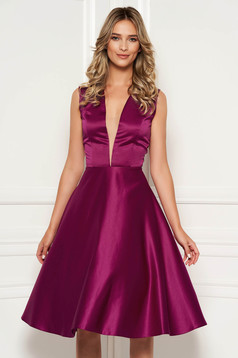 Fuchsia occasional asymmetrical cloche dress with deep cleavage from satin