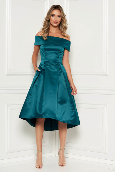 Dirty green occasional asymmetrical cloche dress off shoulder from satin