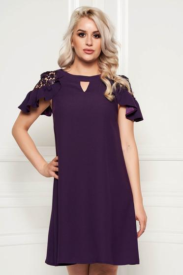 Purple elegant flared dress short sleeves voile fabric