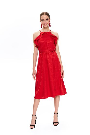 Red midi cloche dress thin fabric with ruffle details accessorized with tied waistband