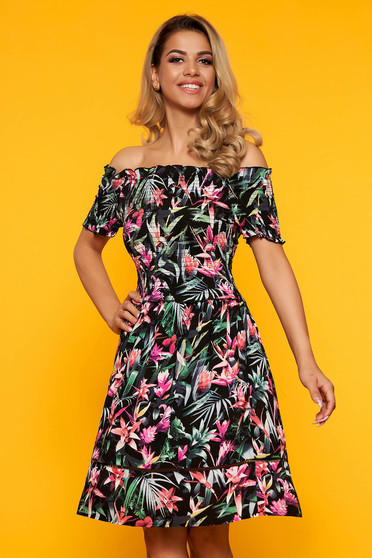 Black dress daily short cut cloche on the shoulders with floral print