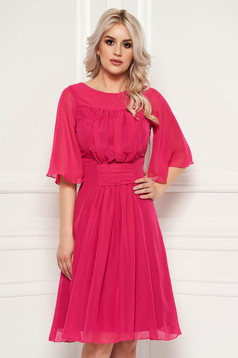 Fuchsia occasional cloche dress from veil fabric with inside lining