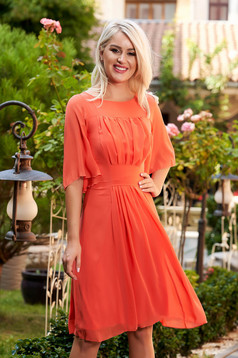 Orange occasional cloche dress from veil fabric with inside lining