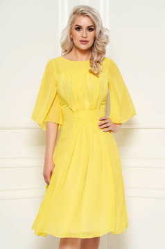 Yellow occasional cloche dress from veil fabric with inside lining