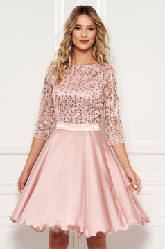 Lightpink occasional cloche dress transparent sleeves from laced fabric with sequin embellished details