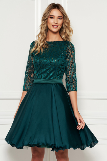 Dirty green occasional cloche dress transparent sleeves from laced fabric with sequin embellished details