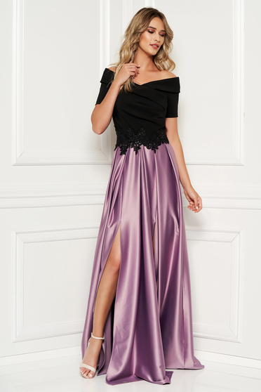 Occasional lila dress from satin fabric texture with embroidery details on the shoulders cloche