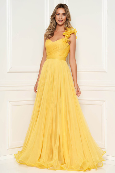 Ana Radu yellow luxurious long dress from tulle with push-up cups and flaring cut