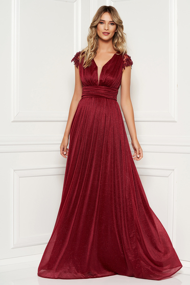 Burgundy occasional long cloche dress with laced sleeves