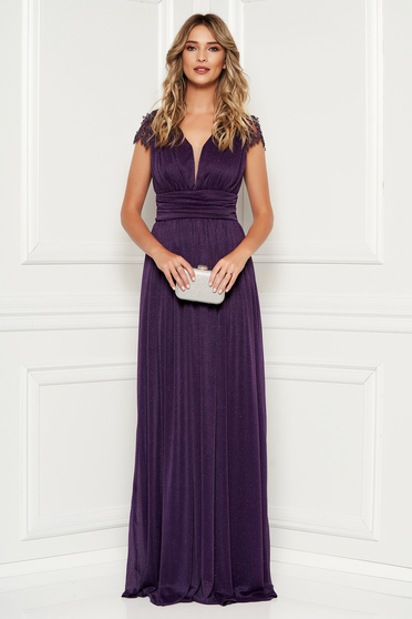 Purple occasional long cloche dress with laced sleeves