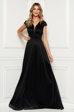Black occasional long cloche dress with laced sleeves
