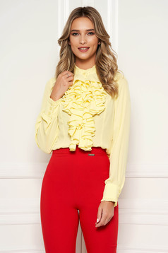 StarShinerS yellow office women`s blouse with ruffles on the chest transparent chiffon fabric high collar