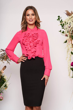 StarShinerS fuchsia office women`s blouse with ruffles on the chest transparent chiffon fabric and high collar