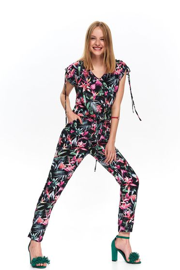 Black jumpsuit occasional long with floral print is fastened around the waist with a ribbon with v-neckline