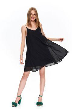 Black daily flared dress slightly transparent fabric with v-neckline