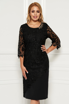 Black occasional midi dress 3/4 sleeve with tented cut slightly elastic fabric lace overlay