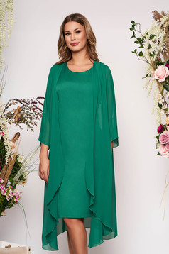 Green elegant midi dress soft fabric sleeveless