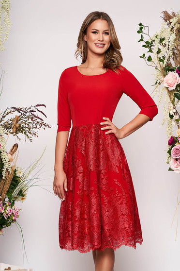 Red elegant midi cloche dress slightly elastic fabric lace overlay