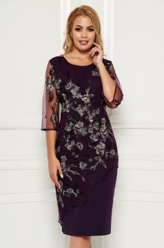 Purple elegant midi dress arched cut cloth lace overlay