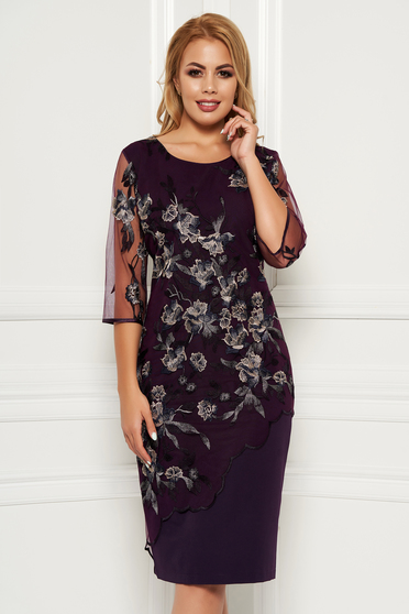 Purple elegant midi dress arched cut cloth lace overlay