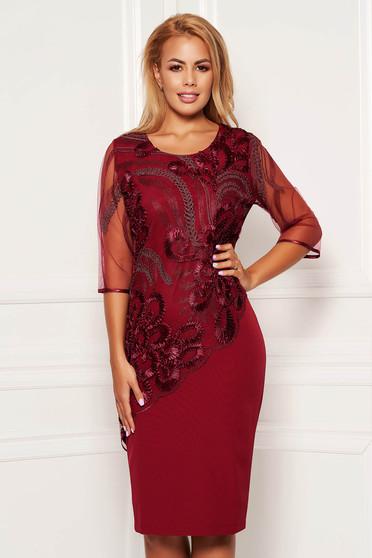 Burgundy dress elegant daily straight midi with veil sleeves lace overlay