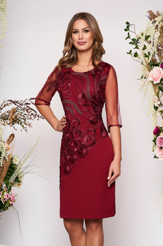 Burgundy dress elegant daily straight midi with veil sleeves lace overlay