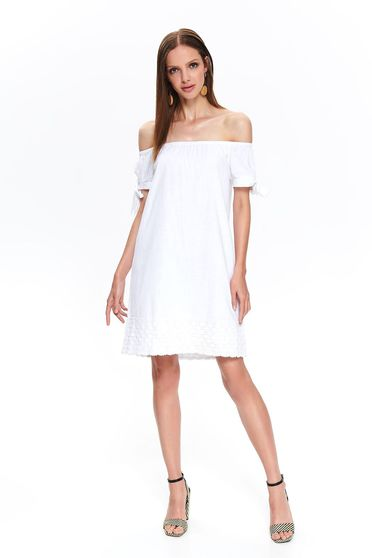 White dress naked shoulders daily flared cotton short cut