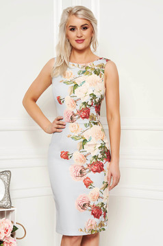 StarShinerS grey elegant sleeveless pencil dress slightly elastic fabric with floral prints