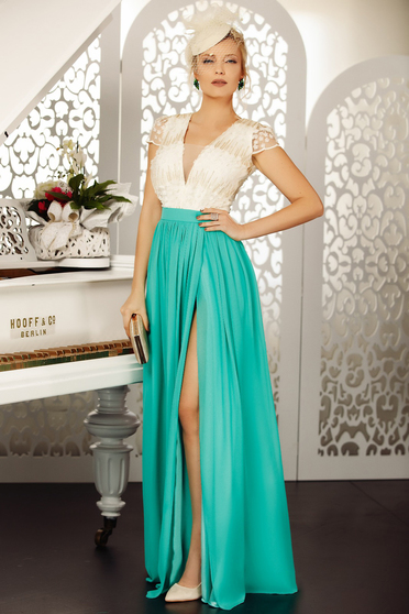 Green dress luxurious occasional cloche long from veil fabric with deep cleavage cut material
