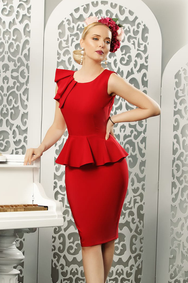 Red elegant pencil dress frilled slightly elastic fabric