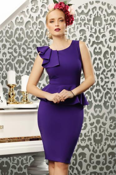 Purple elegant pencil dress frilled slightly elastic fabric