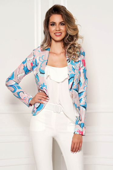 Blue tented cotton jacket with floral prints