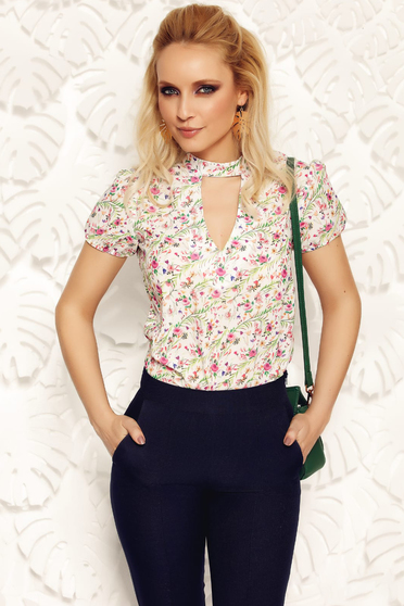 White elegant flared women`s blouse short sleeve cut-out bust design voile fabric